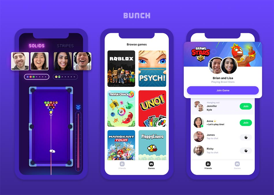 Three smartphones displaying an assortment of mobile games and video thumbnails of the app users.