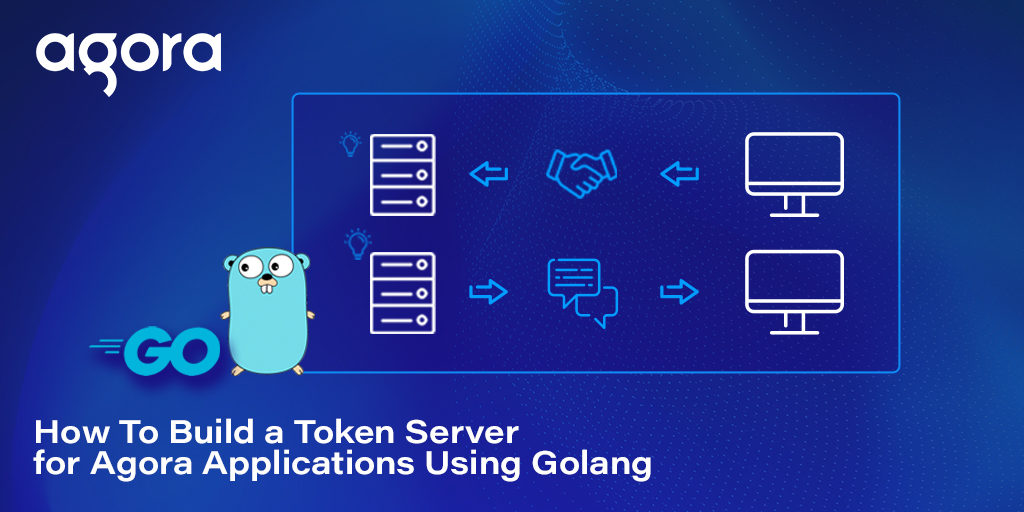 Illustration showing services communicating with computers and Golang's logo