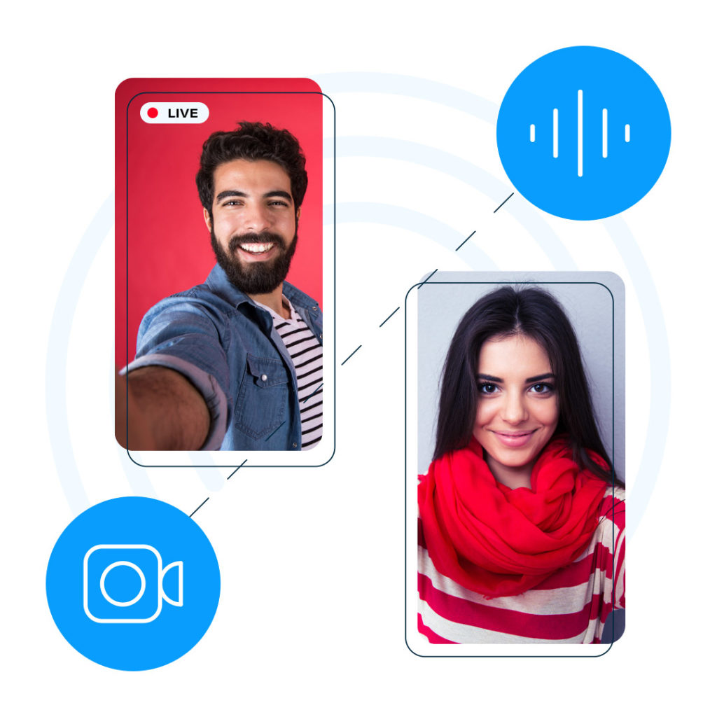 Illustration of two people in mobile devices connected to one another