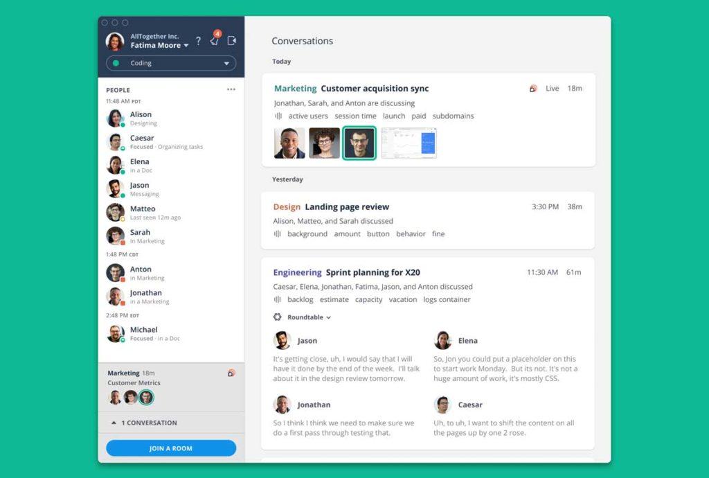 Loop Team user interface