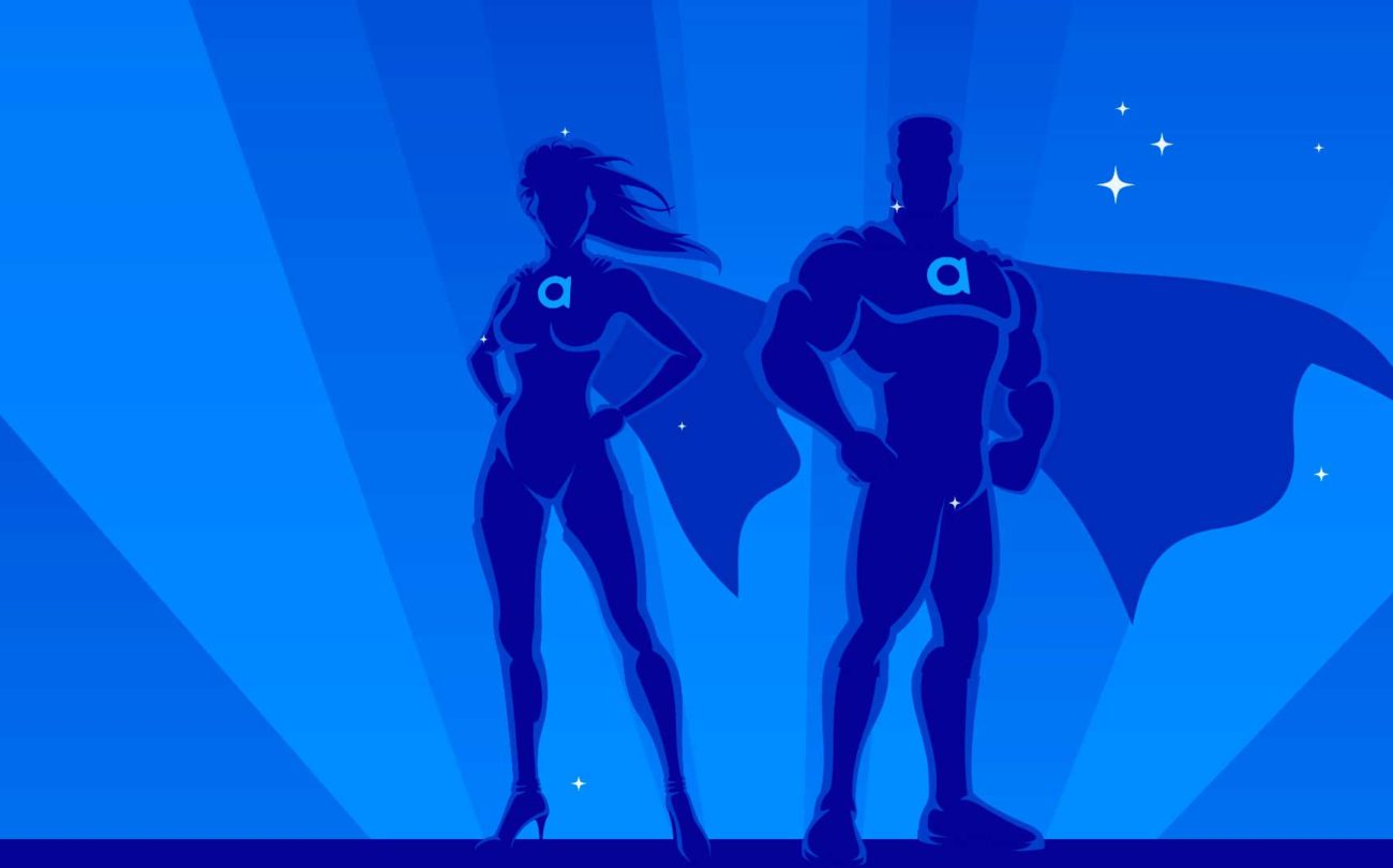 An illustration of a female and male superhero