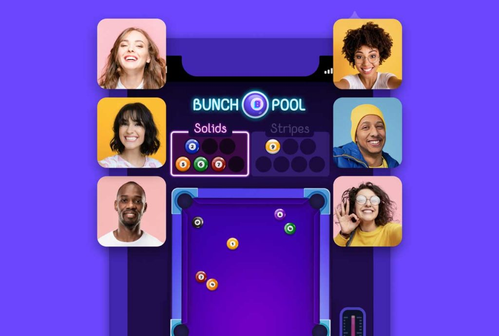 User interface of a billiards video game with 6 players.