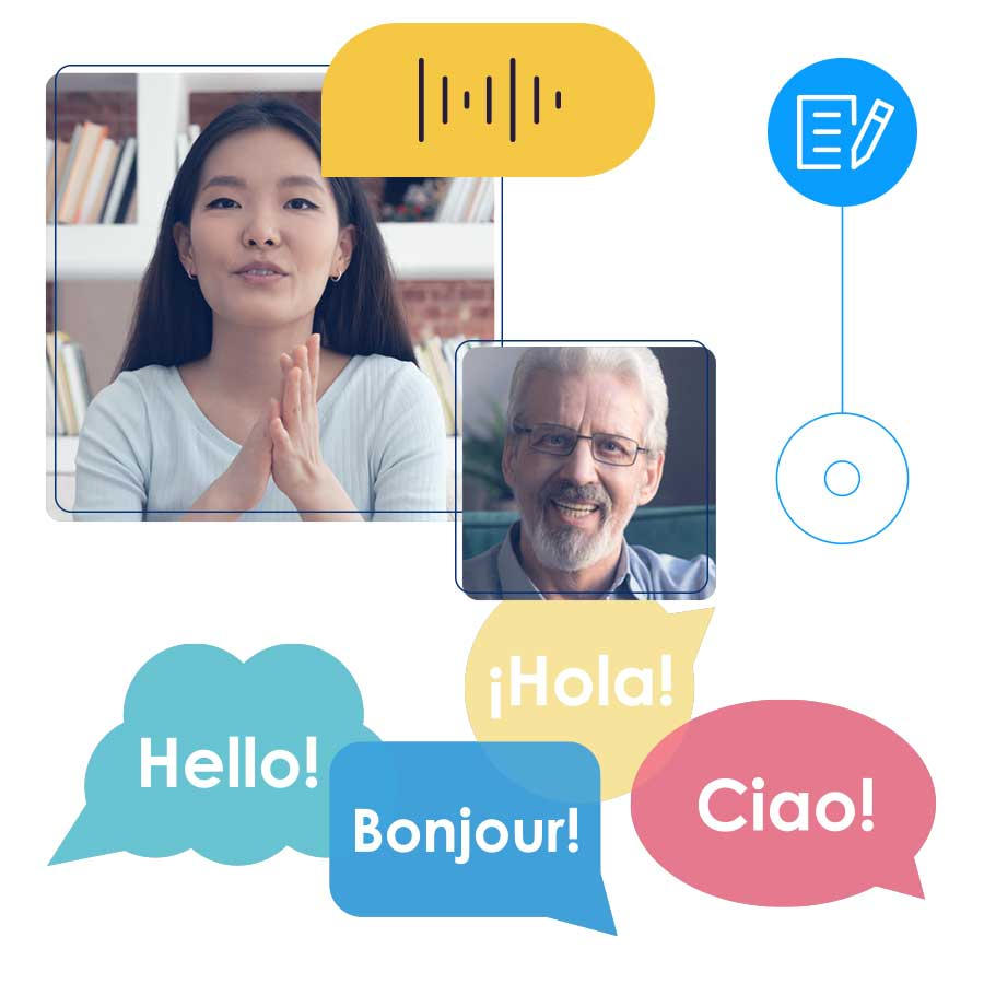 Illustration of a woman virtually teaching a man how to speak a new language.