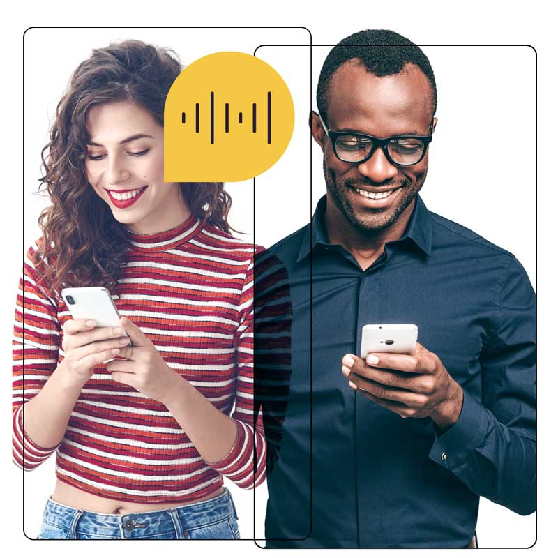 Two people chatting on their phones with yellow speech bubbles