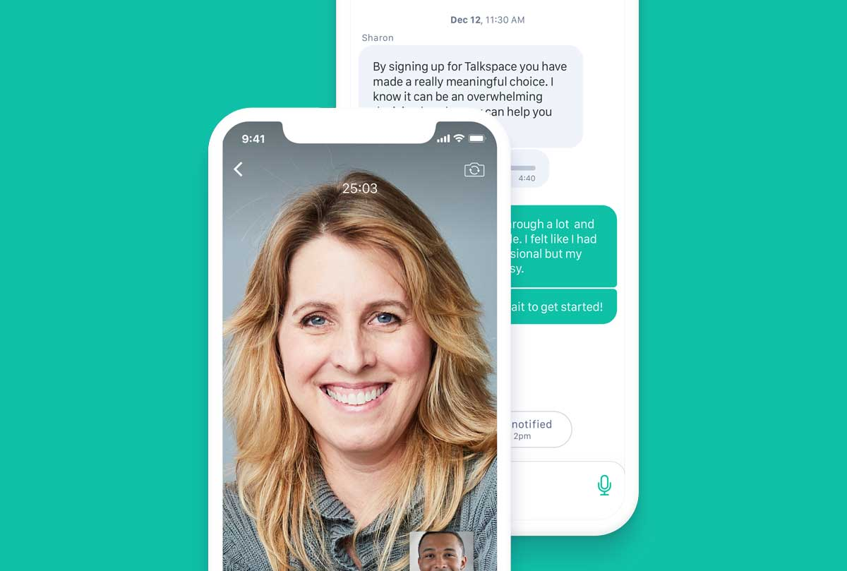 Illustration of a smiling woman on a phone in front of another phone with a chat conversation displaying.
