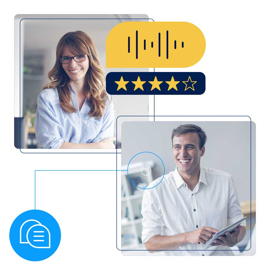two people chatting with 4 out of 5 stars showing