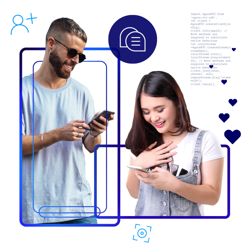 Two people chatting on their mobile phones with UI elements floating around them