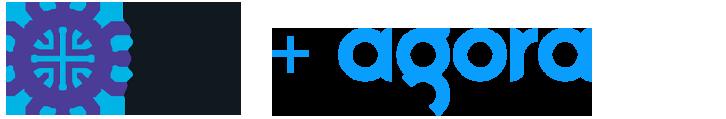 The Meet Group logo and Agora logo