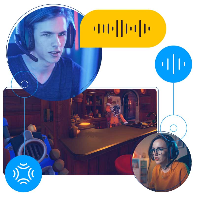 A man wearing a gamer's headset using voice call through a gaming app with a woman also wearing a gamer's headset
