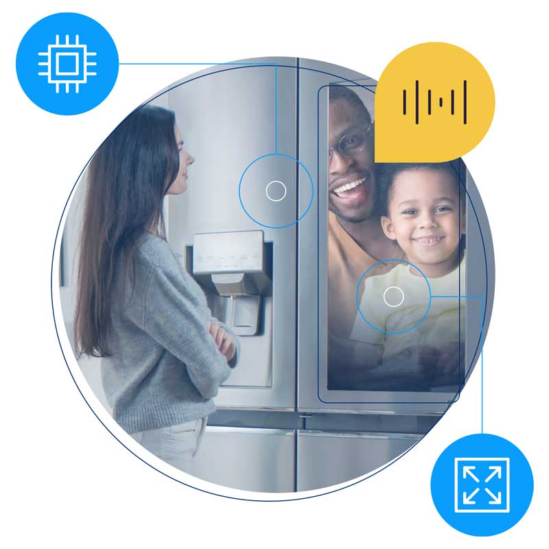 A family using interactive video chat through a smart kitchen appliance