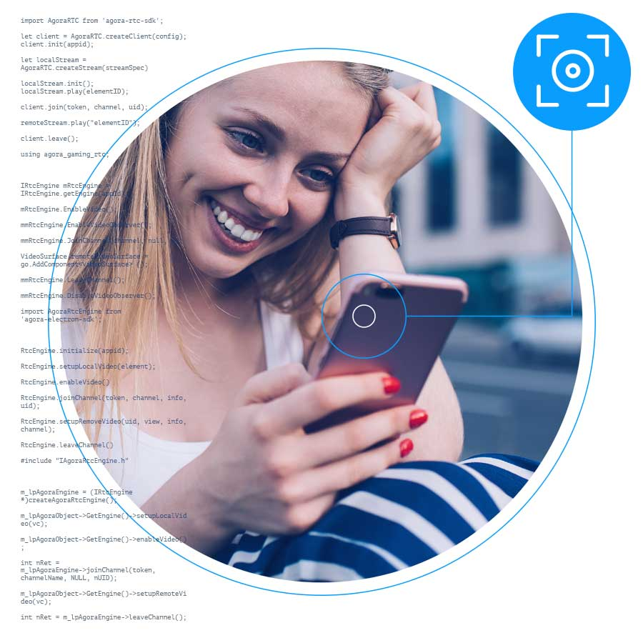 Woman engaged with entertaining video chat on a mobile device