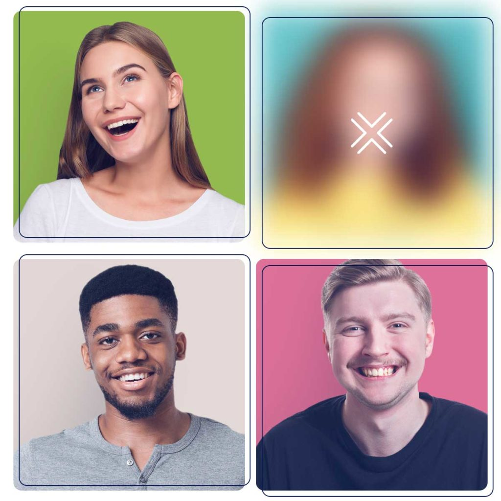 4 headshots of people interacting, one of them blurred out with an x-shaped icon to indicate it's been identified as unacceptable content