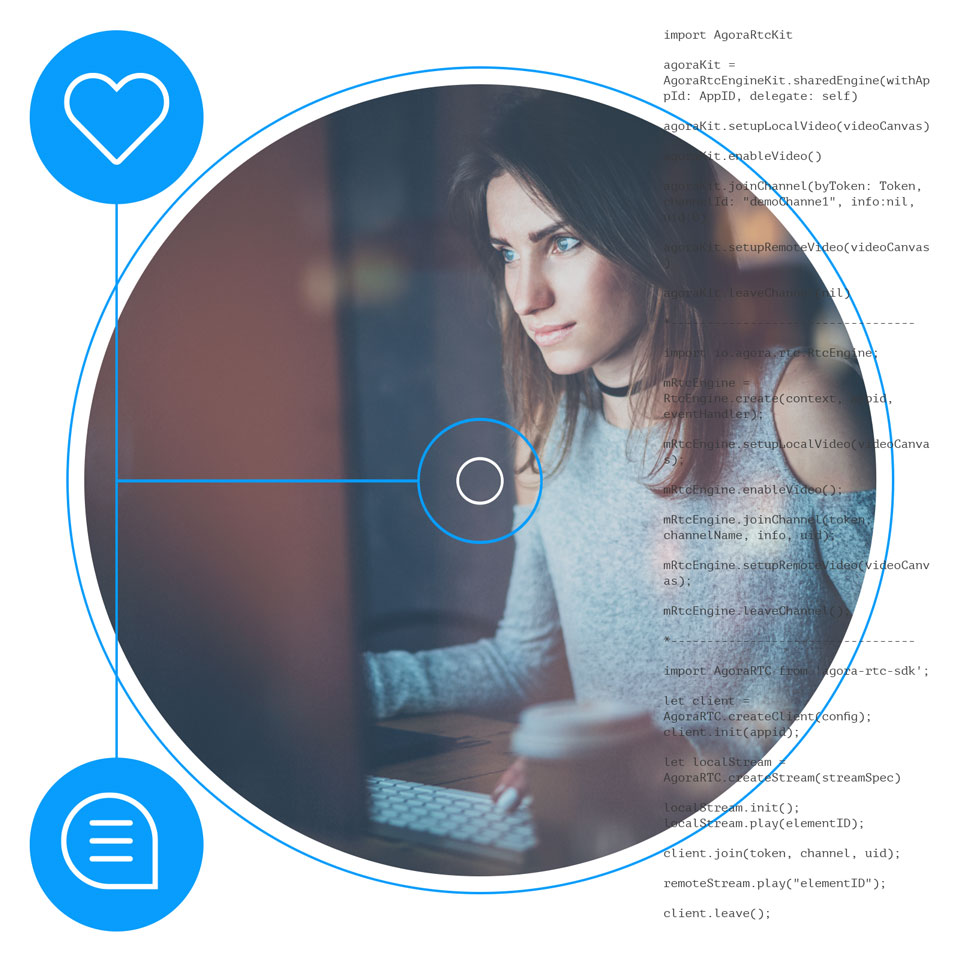 Woman at a desktop messaging in real-time through a dating app