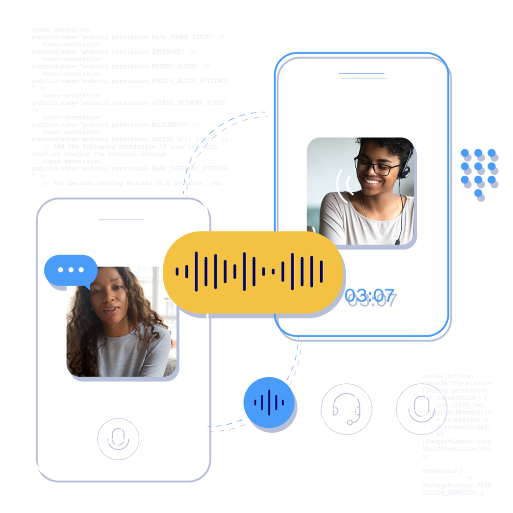 Two mobile devices, each showing a person talking with the other via a voice call mobile app