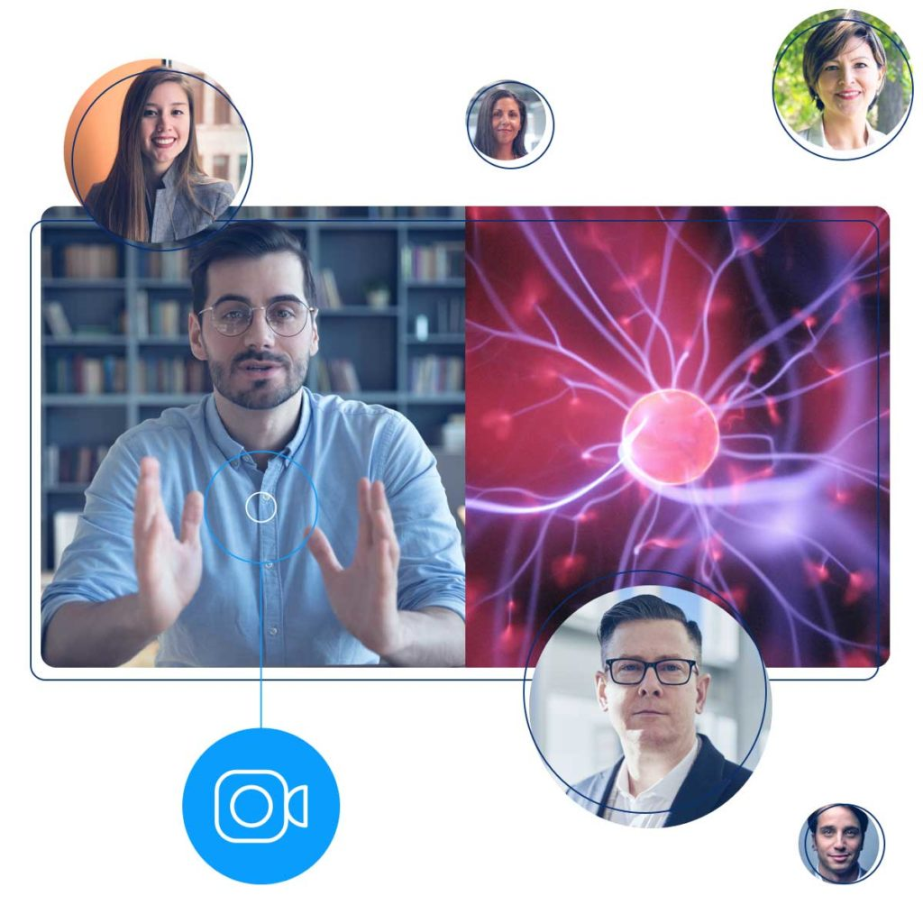 Illustration of a medical researcher presenting to five people virtually.