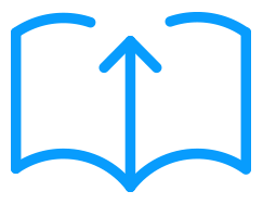Icon of an open book with an upwards arrow
