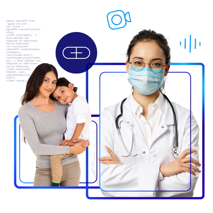 Illustration of a doctor virtually interacting with a mother and her child.