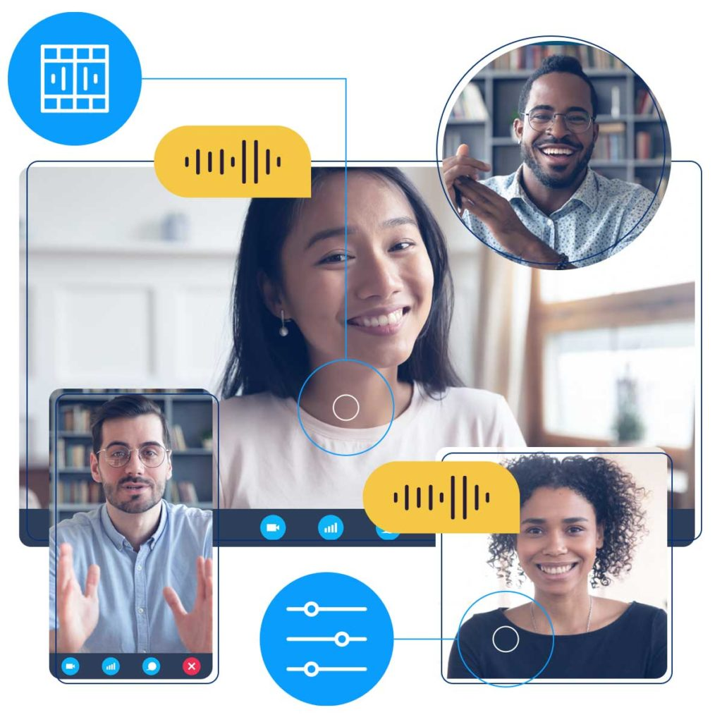 Four people connecting virtually.