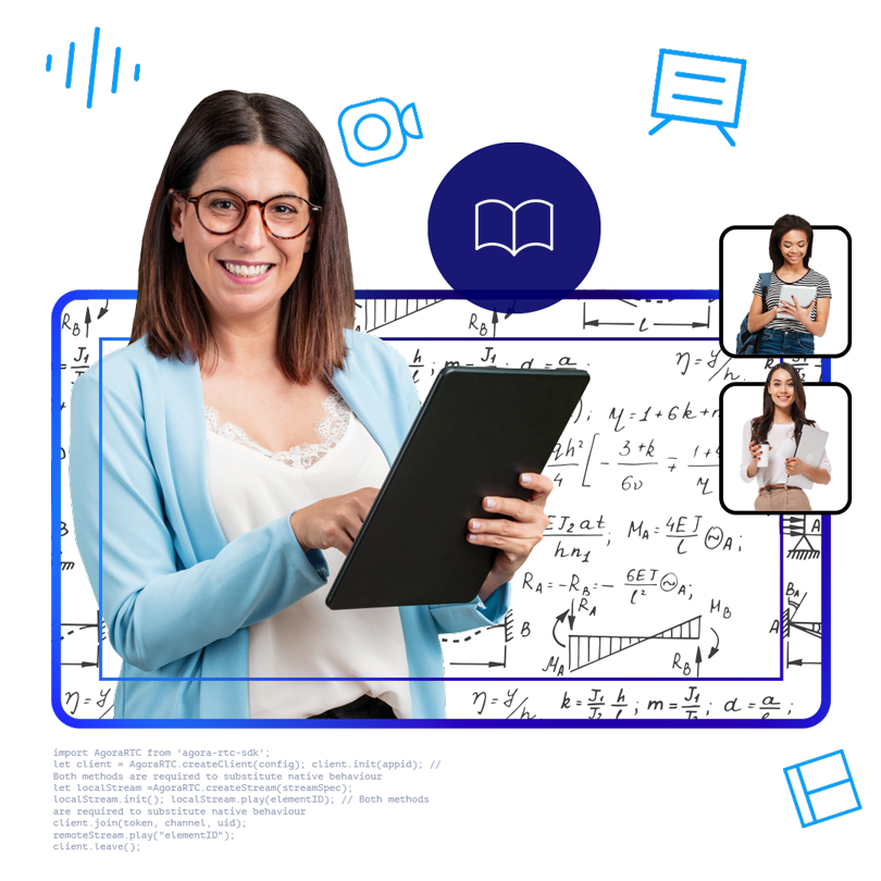 Illustration of a teacher holding a tablet and two students listening.