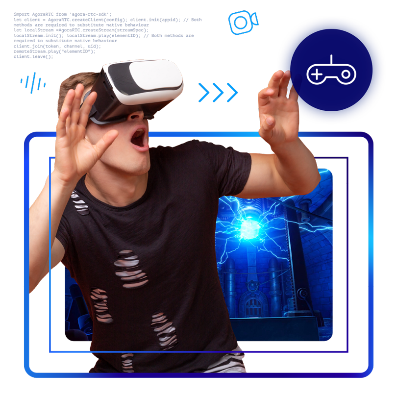 Illustration of man wearing VR goggles.