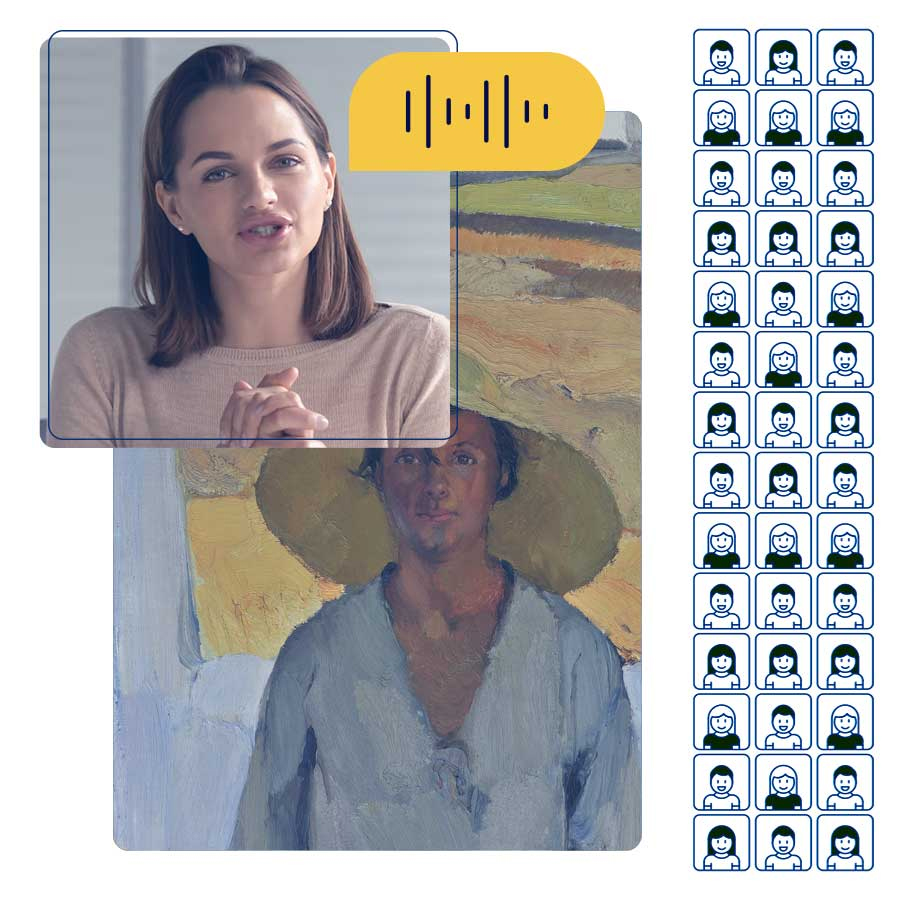 A woman presenting virtually, speaking about a fine art painting