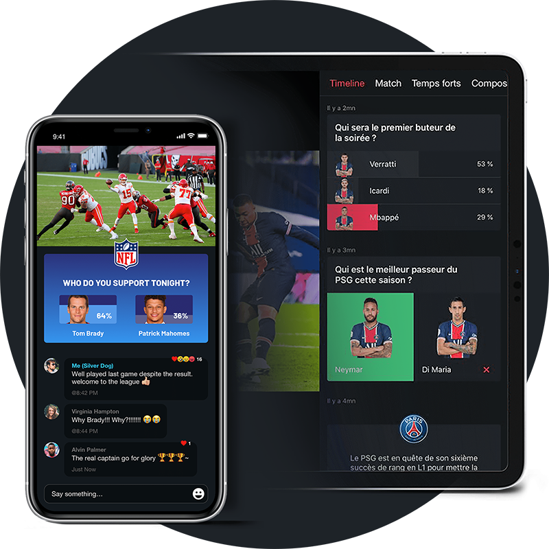 Live sports game streamed on mobile device