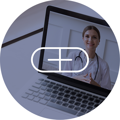 Telehealth icon shown above a laptop with a doctor on the screen