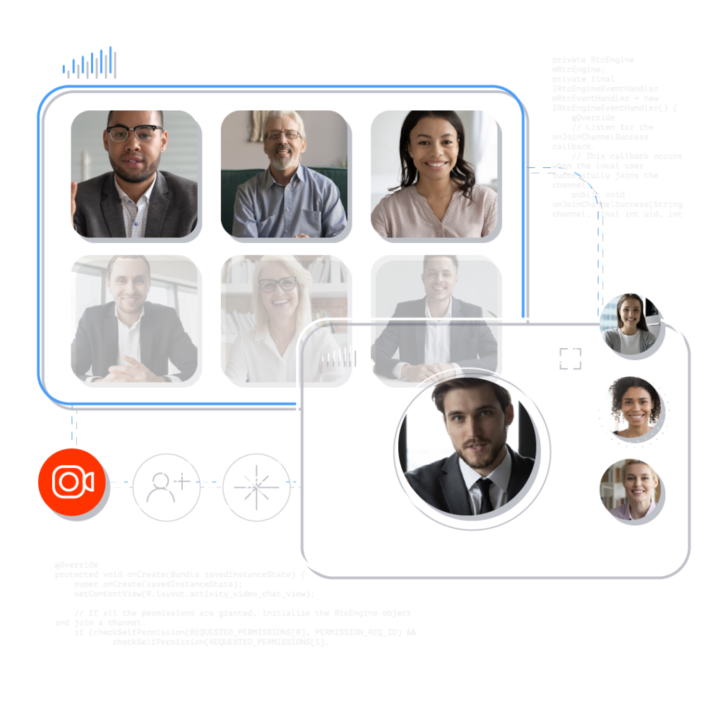 An illustration of a video call with nine participants