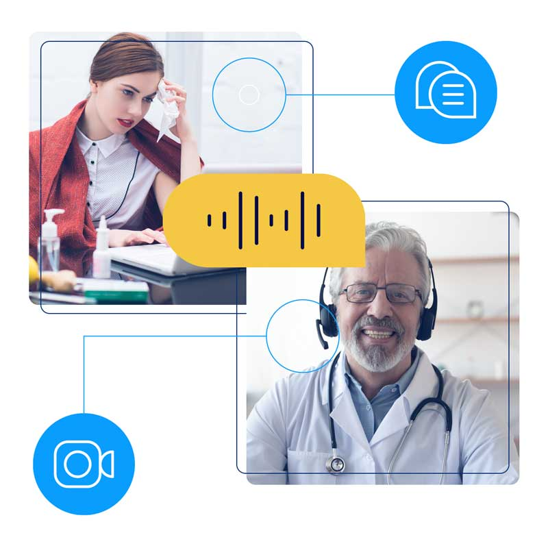 Illustration of a doctor virtually interacting with a patient.