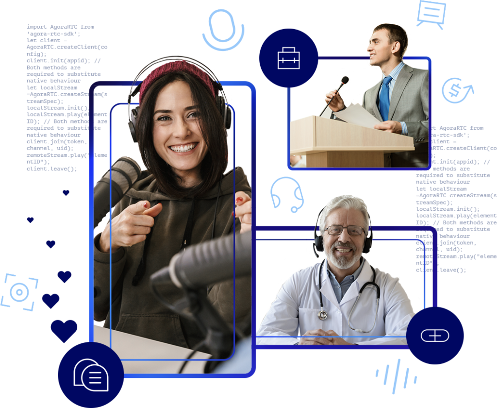 A female podcaster, male giving a presentation and doctor providing telemedicine via interactive live audio streaming.