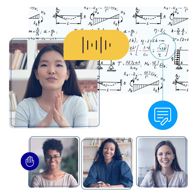 Students and educators connect via live video chat, shared presentations, and collaborative white boards.