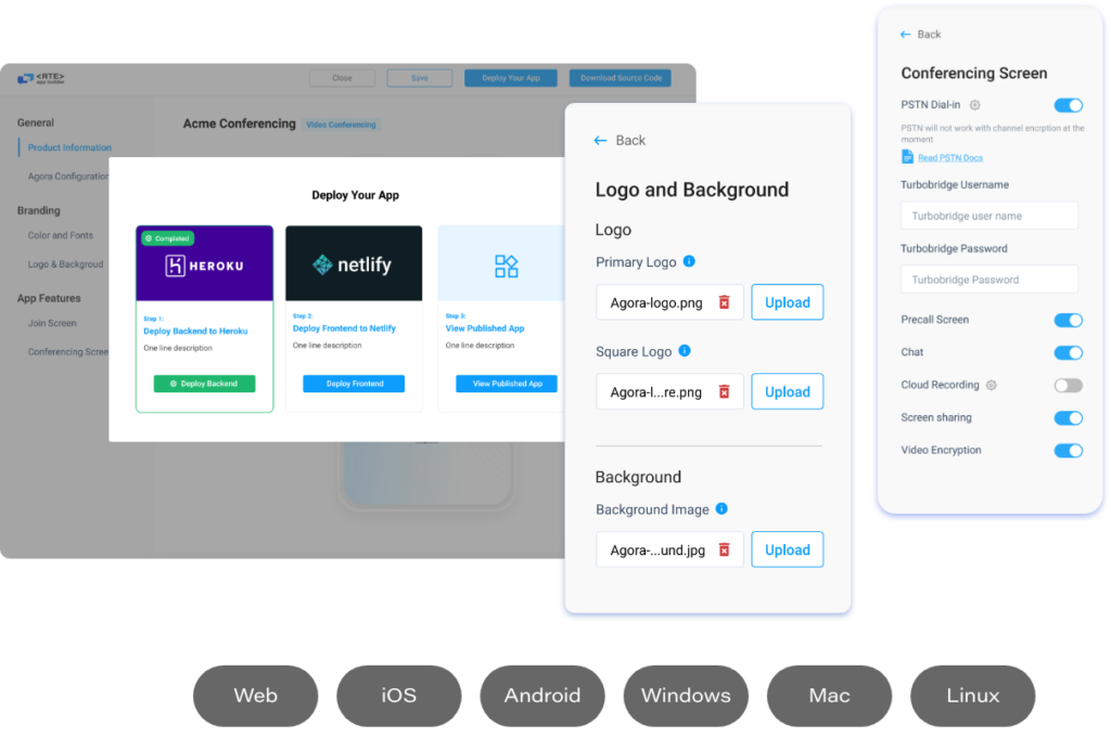 Screenshots of Agora App Builder in action, configuring the design and selecting meeting tools, all without coding knowledge.