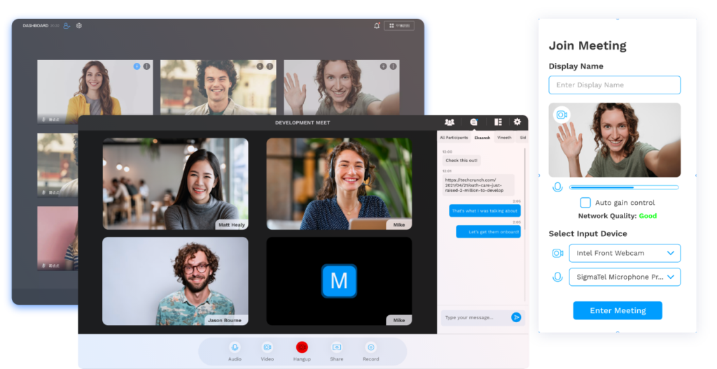 Screenshots of video chat get-togethers, on both desktop and mobile formats that show the out-of-the-box responsive design.