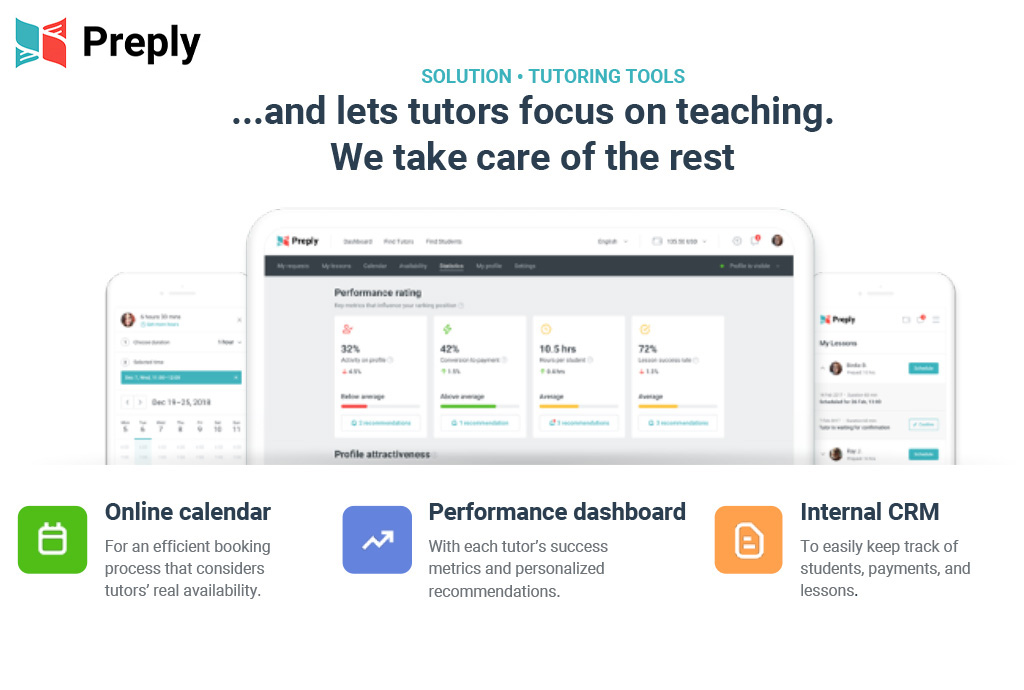 """Preply screenshot showing the tutoring app interface with copy that says, """"Solution, Tutoring Tools …and lets tutors focus on teaching. We take care of the rest."""" Below are callouts for, """"Online calendar for an efficient booking process that considers tutors' real availability. Performance dashboard with each tutor's success metrics and personalized recommendations. Internal CRM to easily keep track of students, payments, and lessons."""""""