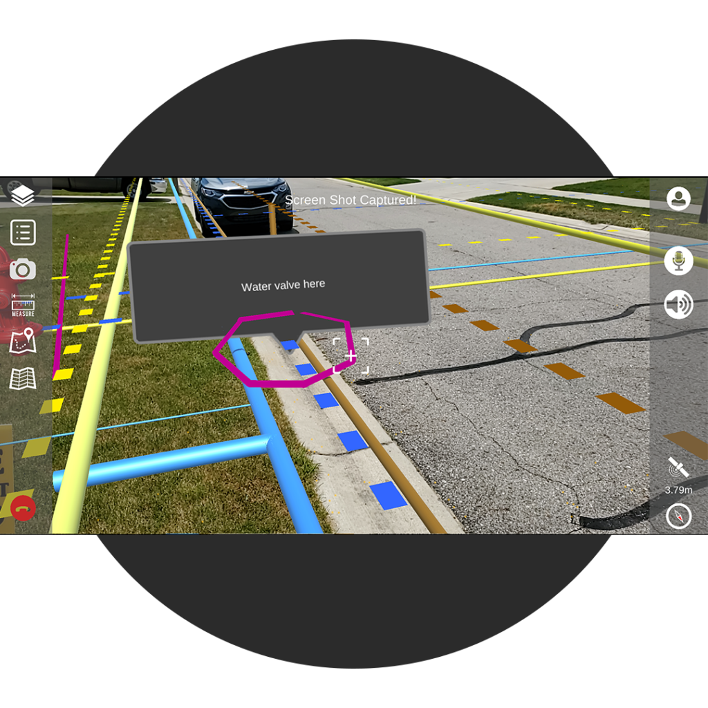 App showing captured screenshot with overlapping utilities and underground water valve location clearly marked and labeled.