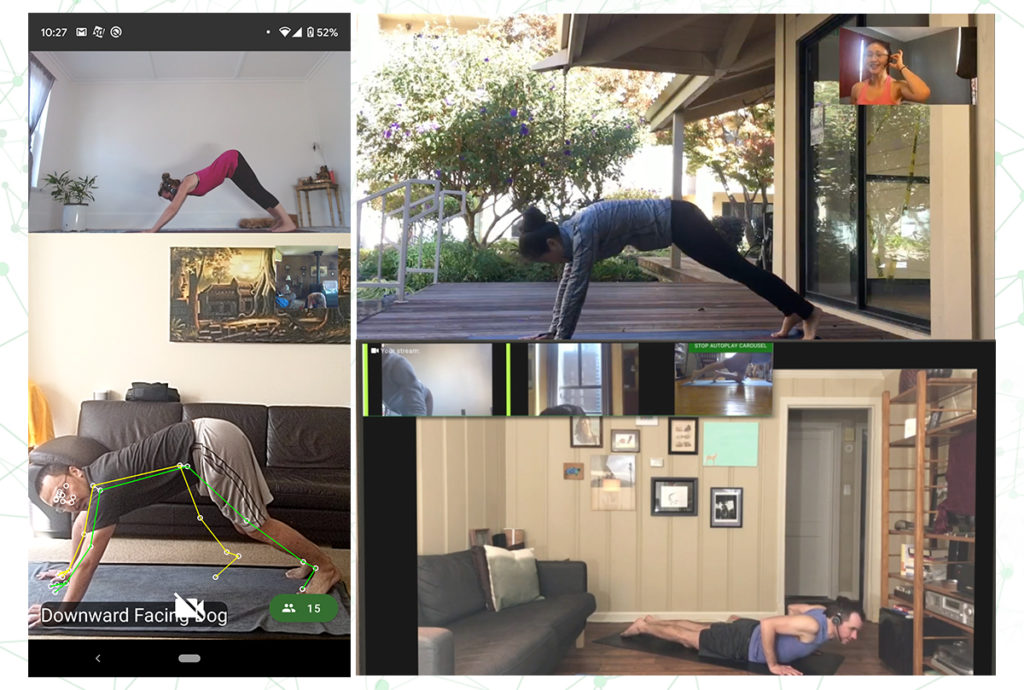 MixPose users doing yoga with AI-powered pose estimation