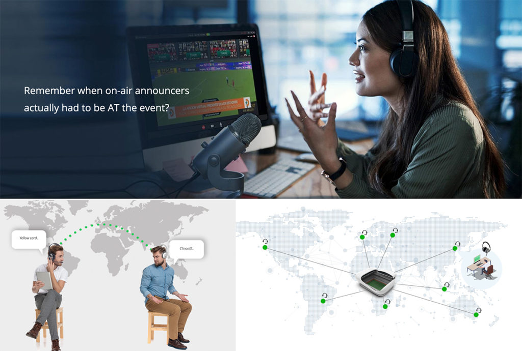 Sports announcer working remotely, commentators discussing game remotely, graphic showing distributed production crew.