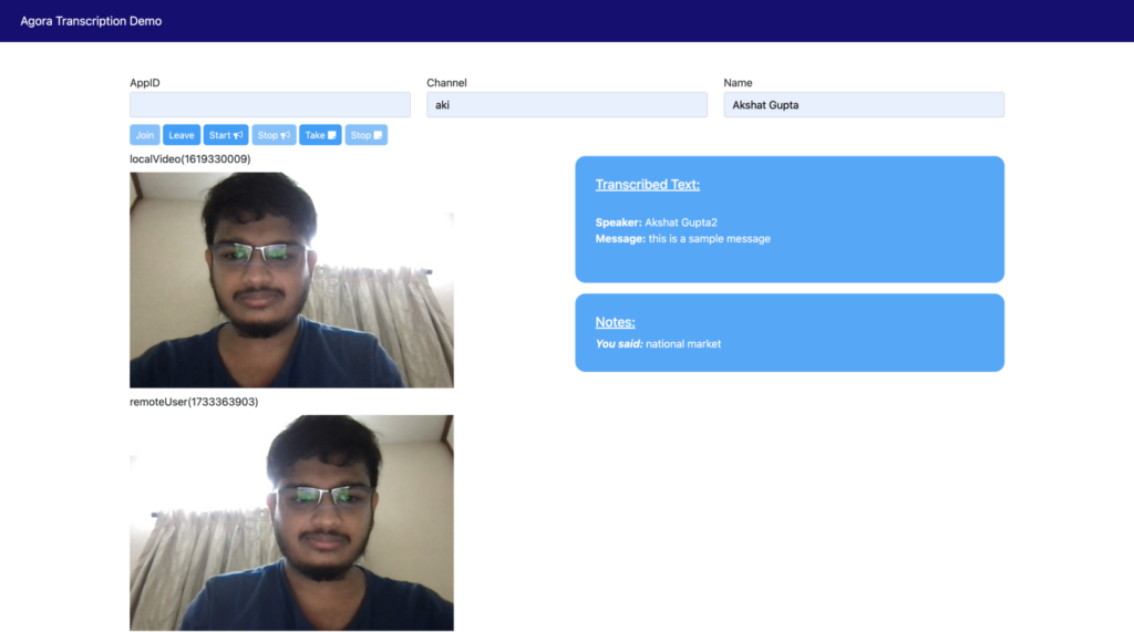 Building Your Own Transcription Service Within a Video Call Web App - Screenshot #1