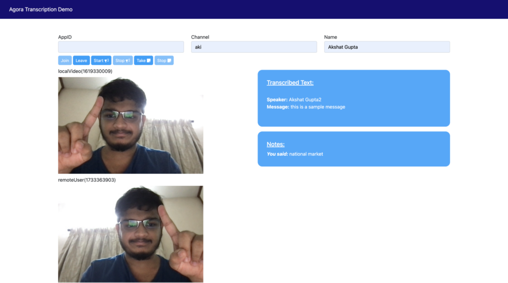 Building Your Own Transcription Service Within a Video Call Web App - Screenshot #5