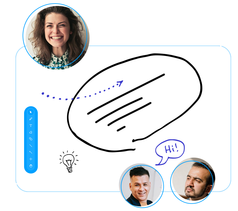 Abstract image of people on a video conference also collaborating on a whiteboard.