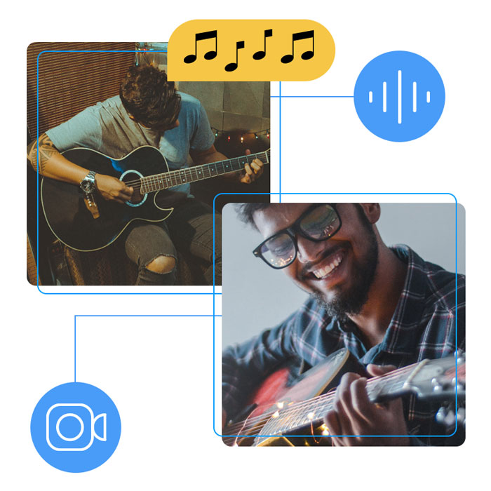 Abstract image of two people in a one-on-one guitar tutoring lesson
