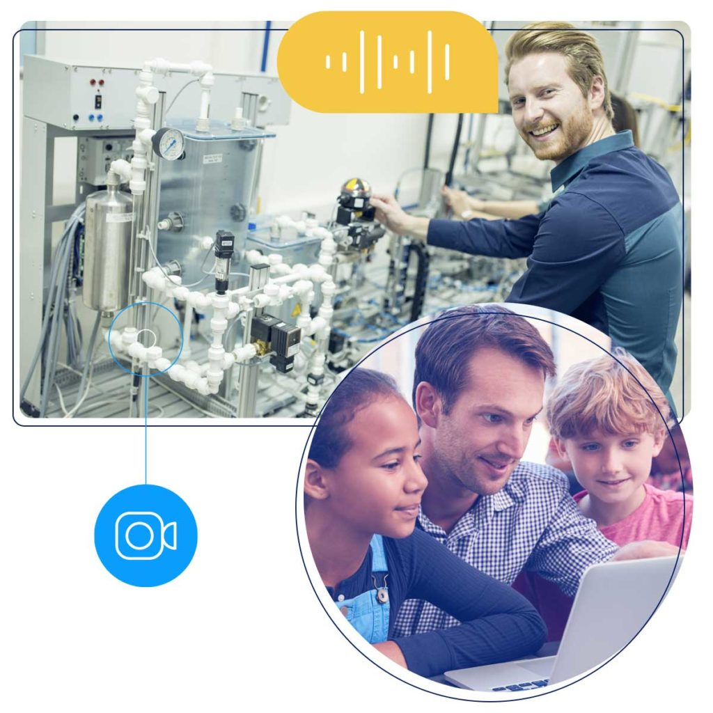 Illustration of an engineer virtually demonstrating his work to two children and a teacher.