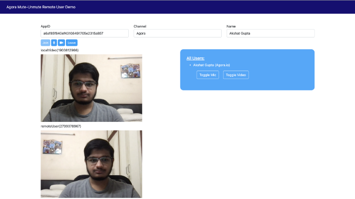 Muting And Unmuting A Remote User In A Video Call Web screenshot 1