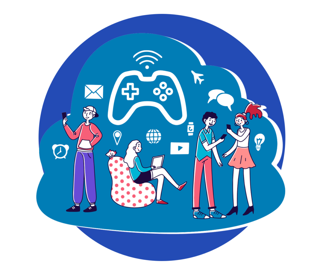 Animation of people playing live, social games online