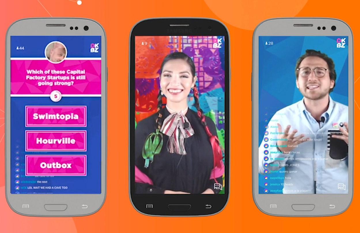 Live trivia games on De Kabeza platform displayed on three phones