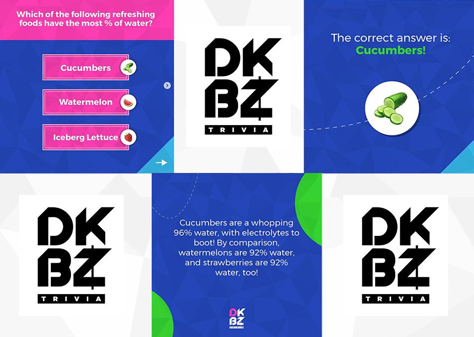 Example trivia questions and De Kabeza logos