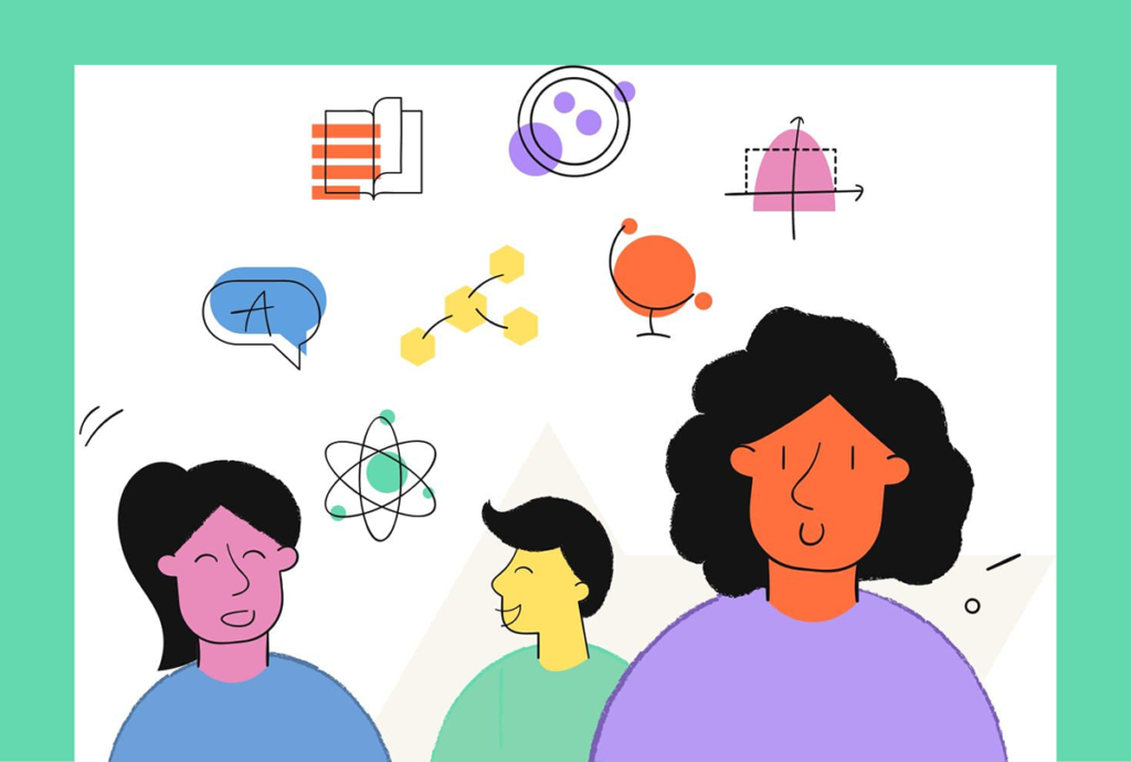 Colorful illustration of three people with icons for school subjects