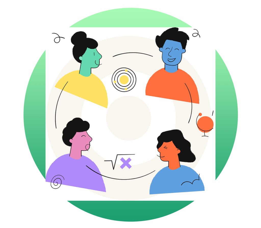 Colorful illustration of four happy people and three school subject icons