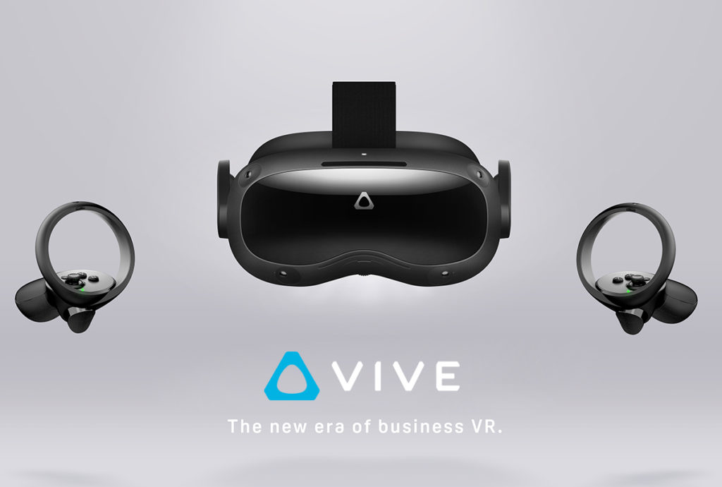 """HTC VIVE headset hardware with VIVE logo above text """"the new era of business VR"""""""