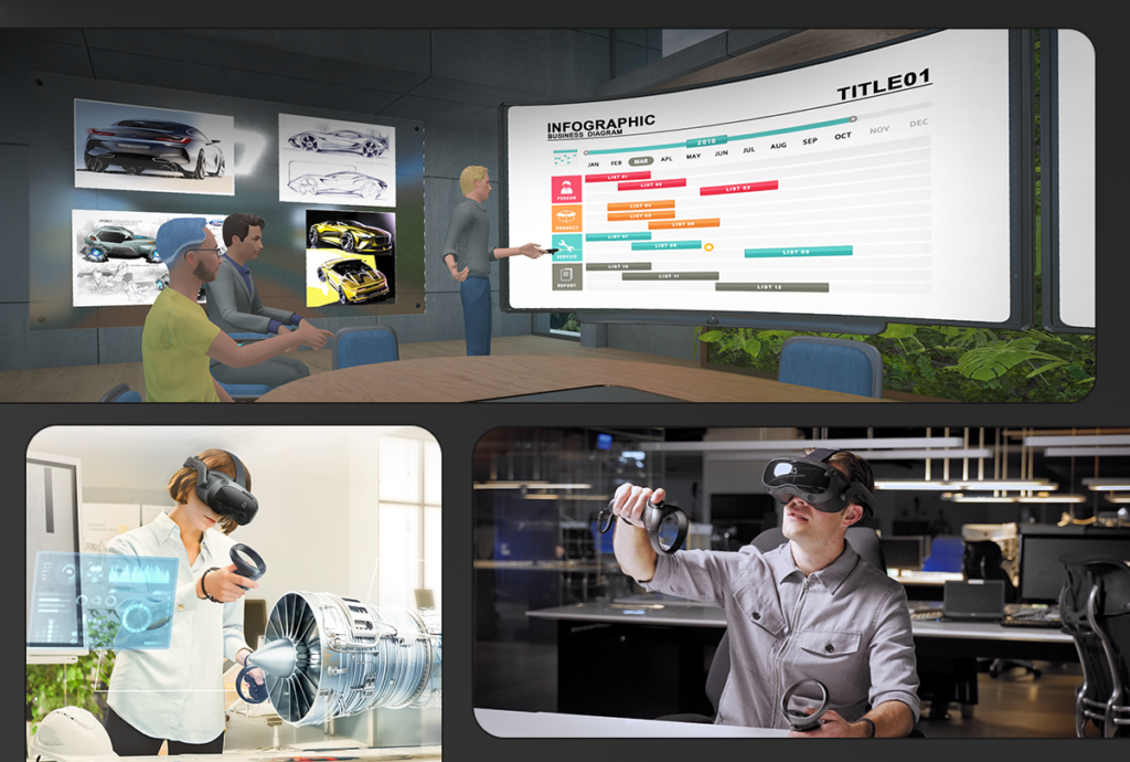 VR users interacting in a virtual workspace